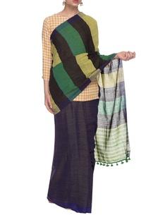 Blue striped handwoven sari