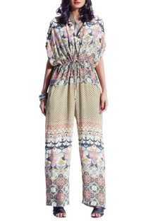 Lime yellow & pink multi print jumpsuit