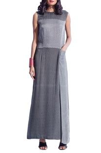 Black & grey printed gown