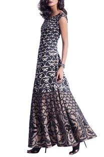 Black & beige butterfly print sequin maxi dress