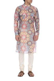 Multi colored mughal printed kurta