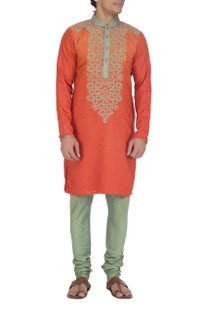 Rust orange & beige embroidered kurta