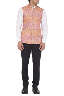 Pink & orange embroidered nehru jacket