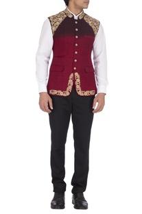 Dark maroon embroidered nehru jacket