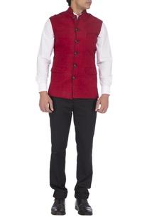 Deep red & black textured nehru jacket