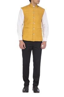 Yellow textured nehru jacket