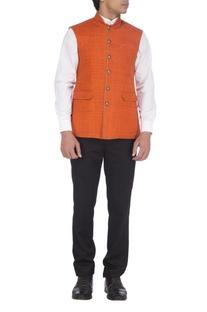 Orange textured nehru jacket