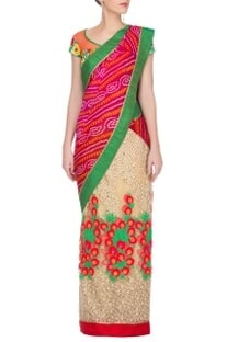 Red bandhej and embroidered sari