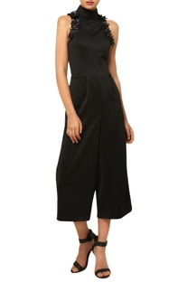 Black 3D embroidered jumpsuit