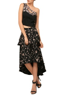 Black embroidered one-shouldered top & skirt set