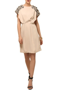 Beige 3D accented dress