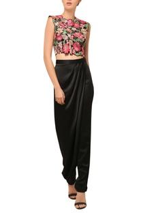 Black floral embellished cropped top