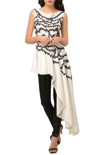 White embroidered high-low peplum top