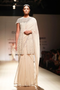 Sand sari with sequined bustier & jacket