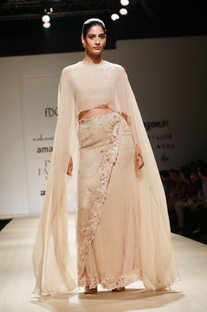 Sequined wrap skirt with cape top