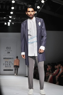 Dark blue overcoat with color accents