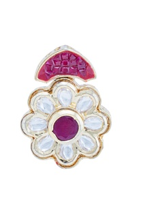 Silver crystal & pink stone floral ring