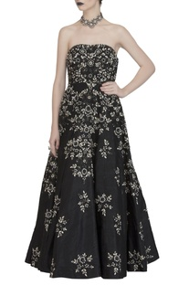 Black embroidered strapless gown