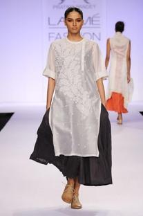 White & black chikankari layered kurta