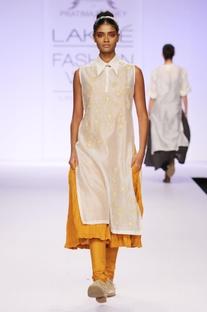 Yellow & white embroidered kurta with churidar