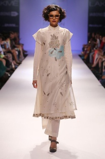 Ivory embroidered tunic with anarkali & salwar