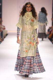Light yellow embroidered tunic & chequered skirt with blouse