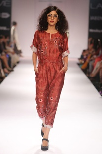 Red embroidered jumpsuit