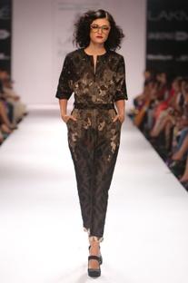 Black embroidered ikat jumpsuit