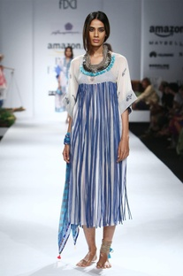 White & blue printed & tassel embellished dress