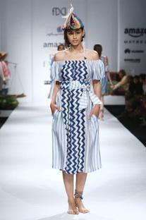 Blue & white printed off-shouldered dress with belt