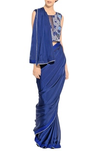 Blue silk sari with border detailing