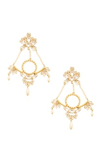 Gold plated earrings with pearl embellishments