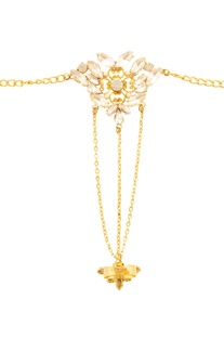 Gold plated crystal embellished hand harness
