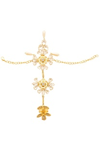 Gold plated floral motif hand harness