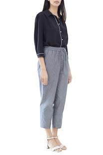 Grey striped cropped pants