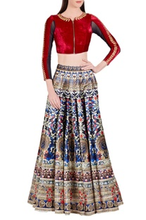 Deep blue & gold printed skirt