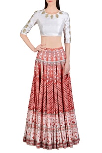 Vermillion red floral printed skirt