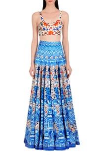 Blue & white floral printed skirt