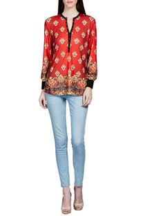Red baroque printed top