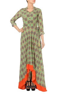 Fern green & orange geormetric printed maxi dress