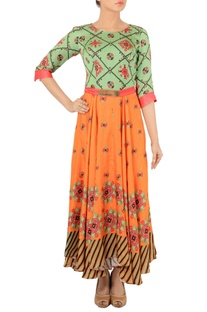 Fern green & orange motif printed dress
