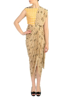 Beige printed draped sari dress with attached blouse
