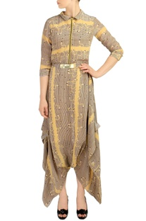 Beige & yellow geometric flamingo printed jumpsuit