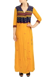 Canary yellow printed crossover jumpsuit