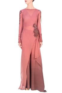 Onion pink asymmetric tunic with palazzo pants