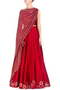 Red dupatta-attached blouse & lehenga set