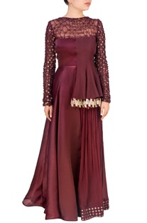 Wine side-flared peplum top & palazzo pants