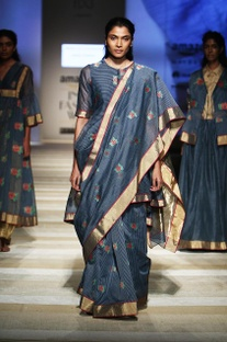 Indigo & red rose handwoven sari