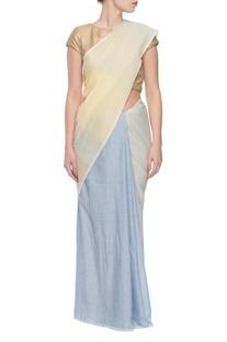 Yellow & blue striped handwoven jacquard sari