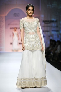 White & gold embroidered short kurta with skirt